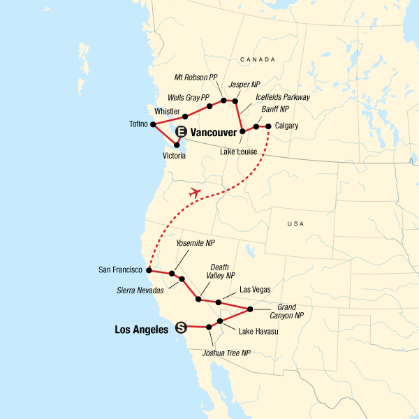 West Coast Discovery Us Canada In United States North America