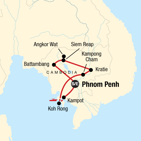 Map of the route for Ultimate Cambodian Adventure