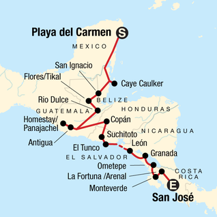 Map of Central American Journey: Rainforests & Ruins