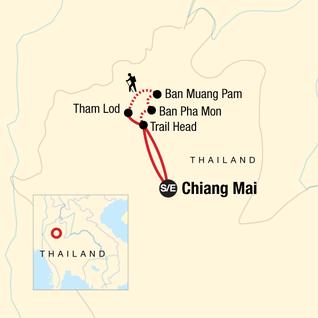Map of Northern Thailand Hilltribes Trek