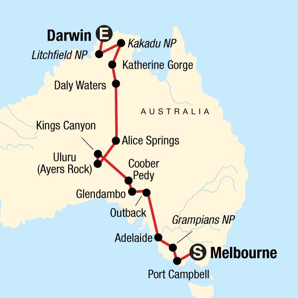 Australia South to North–Melbourne to Darwin in Australia, Australia ...