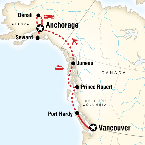 Vancouver Alaska by Ferry Rail in Canada North America G