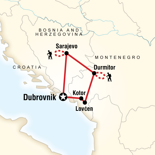 Map of the route for Hiking in the Balkans