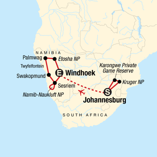 Map of Discover Kruger & Namibia