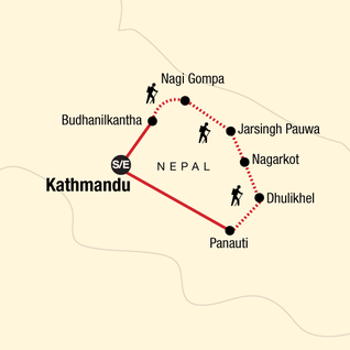 Map of Kathmandu Valley Trek Independent Adventure