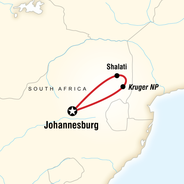 Map of the route for Kruger Camping Safari
