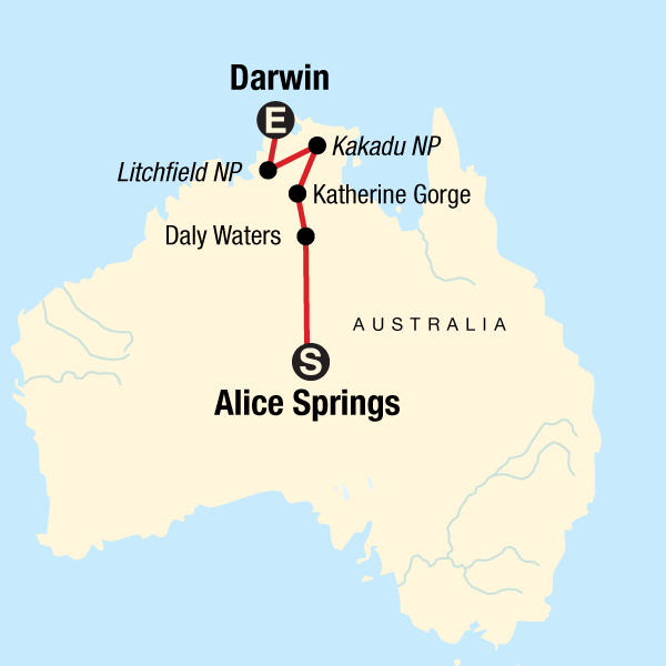 Map of the route for Alice Springs to Kakadu