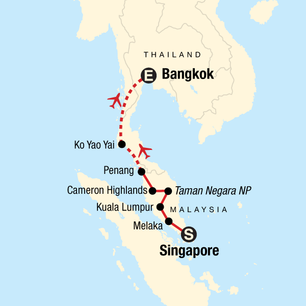 Map of the route for Singapore to Bangkok Journey