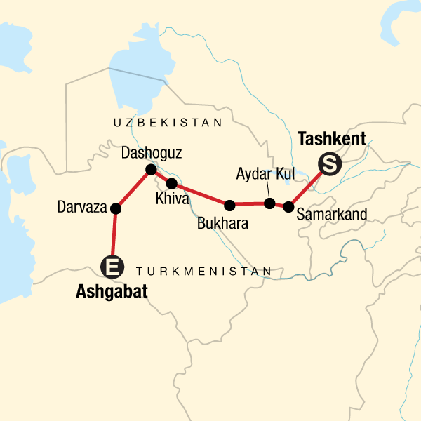 Map of the route for Best of Uzbekistan and Turkmenistan