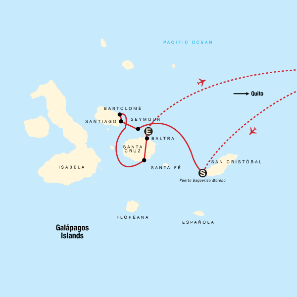 Map of the route for Galápagos Land & Sea — Central Islands aboard the Xavier III
