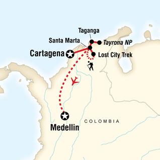 Map of Caribbean Adventure: the Lost City trek & Medellín