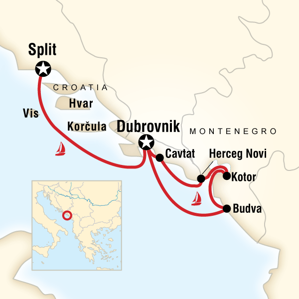 Map of the route for Montenegro & Croatia Sailing