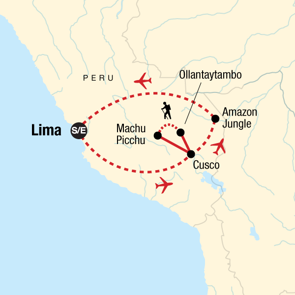 Map of the route for TailorMade Peru: Andes & Beyond