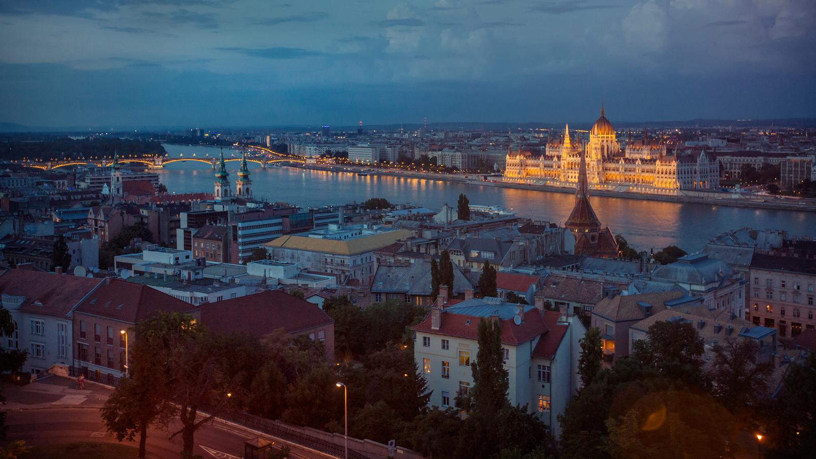 An amazing night time scene of downtown and the parliament building in Budapest, Hungary
