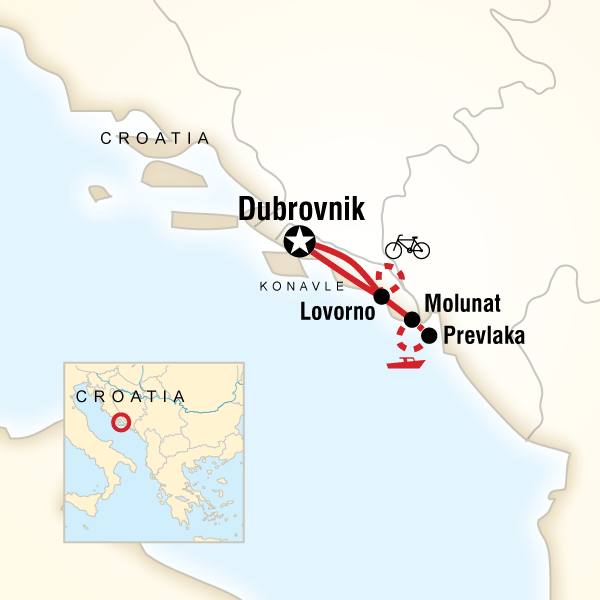 Map of the route for Local Living Croatia – Southern Dalmatia