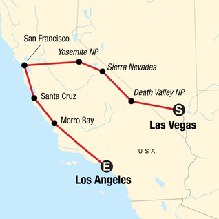 Map of USA Road Trip: Sin, Surf & Sierras