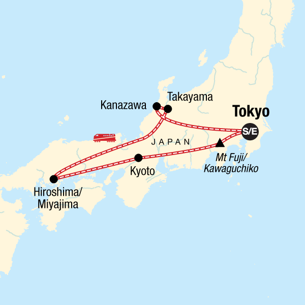 Map of the route for Discover Japan