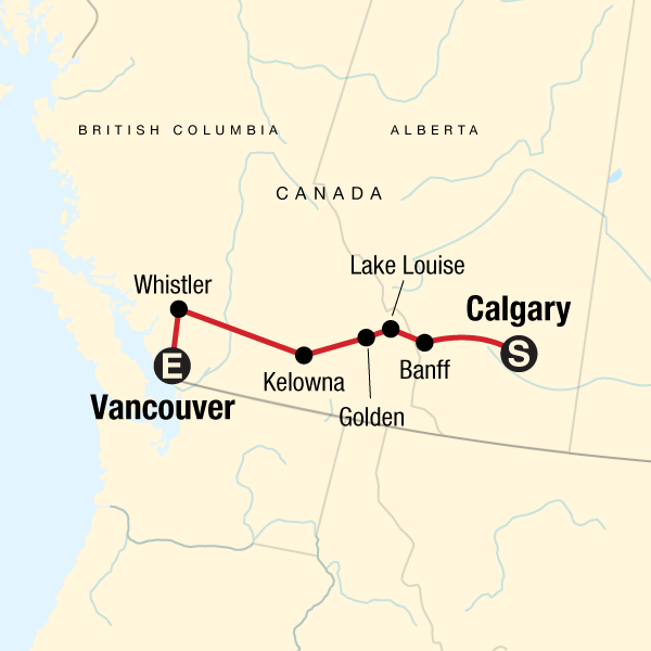 Map of the route for Canadian Rockies Express