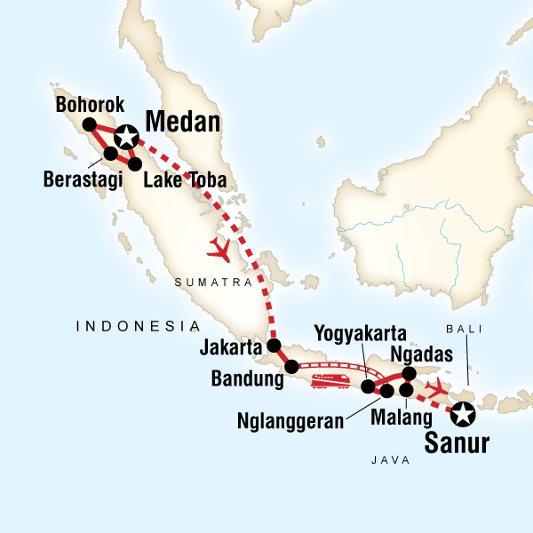 Best of sumatra java in indonesia asia g adventures map of the route for best of sumatra java publicscrutiny Image collections