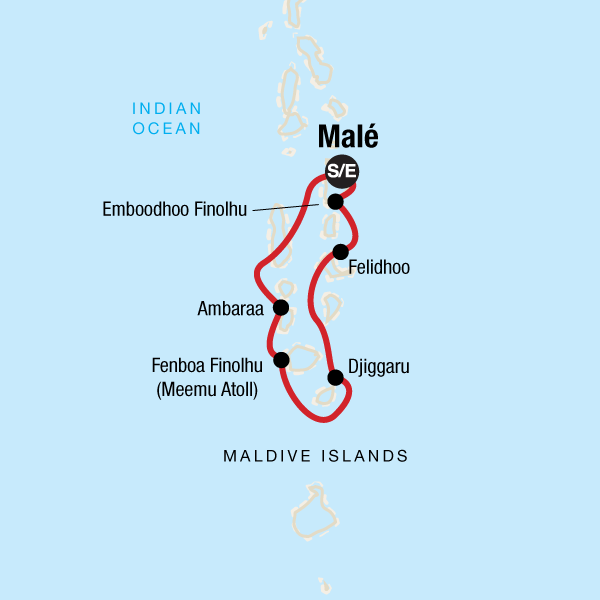 Map of the route for Maldives Dhoni Explorer