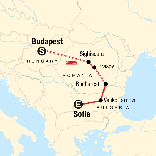 Map of the route for Budapest to Sofia Adventure