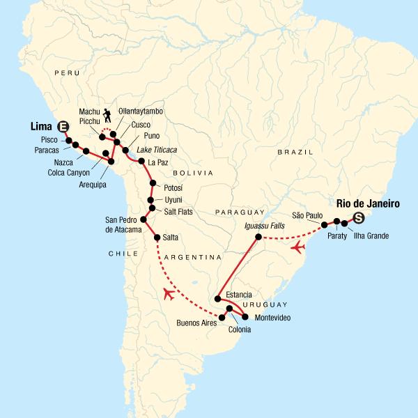 Rio De Janeiro Karte.Erlebnisreise Durch Sudamerika Von Rio Nach Lima