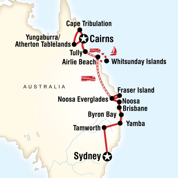East Coast Encompassed Sydney To Cairns In Australia