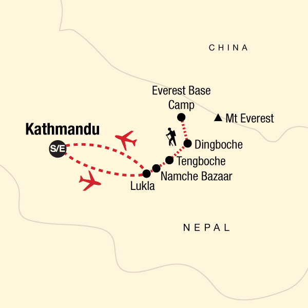 Map of the route for Everest Base Camp Trek