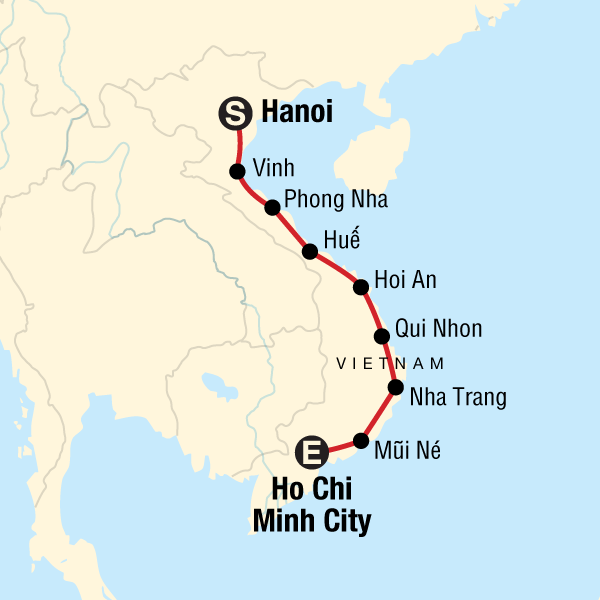 Map of the route for Vietnam: Roadtrip Hanoi to Ho Chi Minh City — Plus