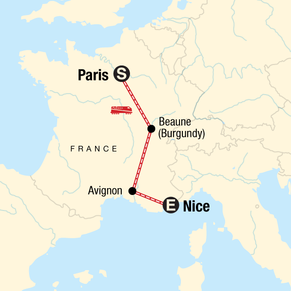 Map of the route for Highlights of France