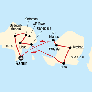 Map of Classic Bali & Lombok
