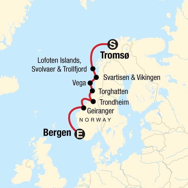 Kreuzfahrt durch norwegische Fjorde: Von Tromsø nach Bergen in ...