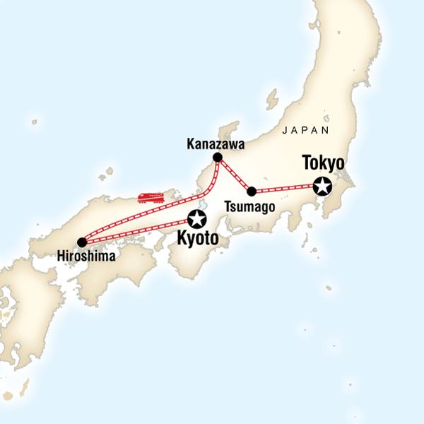 Cartina del tragitto per Iconic Japan
