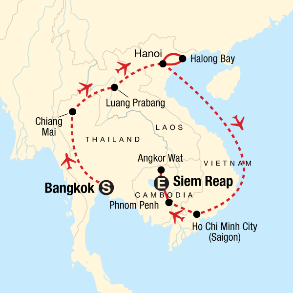 Map of the route for Discover Southeast Asia