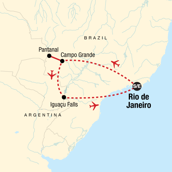 Map of the route for Explore Brazil