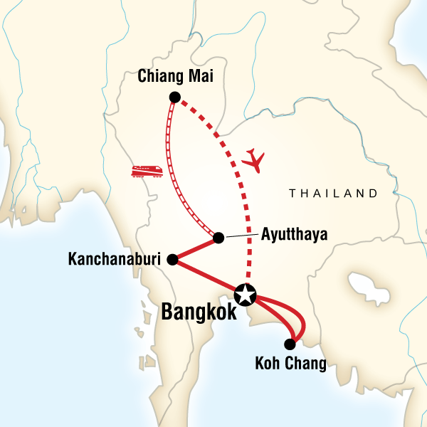 Map of the route for Thailand Family Adventure