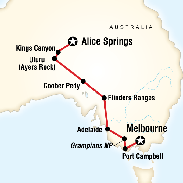 Map Of The Route For The Red Centre To Melbourne