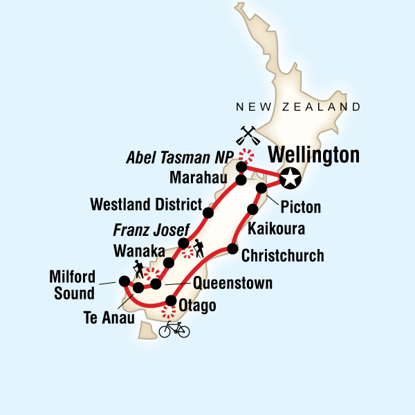 Map of the route for New Zealand – South Island Multisport