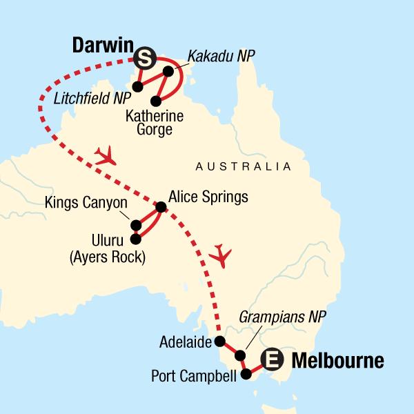 Australia North to South: Darwin to Melbourne in Australia ... on kakadu park australia, map of kahala, national parks of australia, living in australia, map of kangaroos,