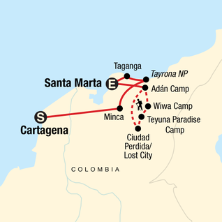 Map of Colombia's Caribbean Coast & Lost City