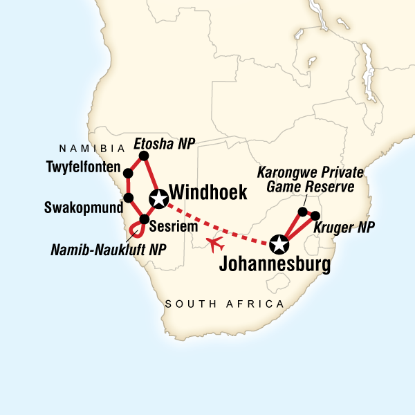 Namibia On Africa Map.Discover Kruger Namibia In Namibia Africa G Adventures