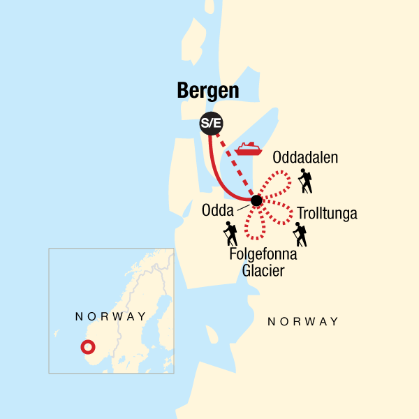Map of the route for Norway Fjord Trekking