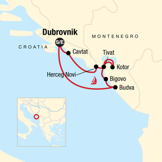 Map of Montenegro Sailing - Dubrovnik to Dubrovnik
