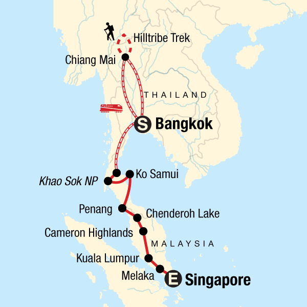 Map of the route for Southeast Asia: Hilltribes & Street Food