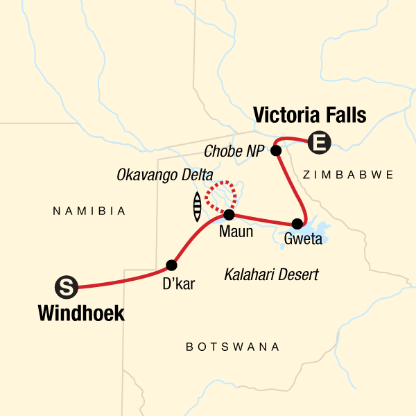 Map of the route for Delta & Falls Eastbound: Baobab Trees & River Views