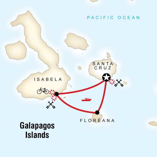 Map of the route for Galápagos Multisport