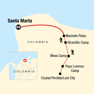 Map of Colombia -  Lost City Trekking