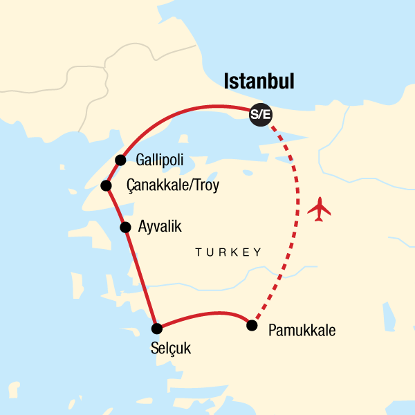 Map of the route for The Best of Turkey — Plus