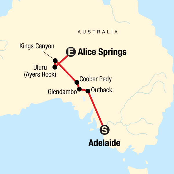 Adelaide Map Of Australia.Outback To The Red Centre Adelaide To Alice Springs