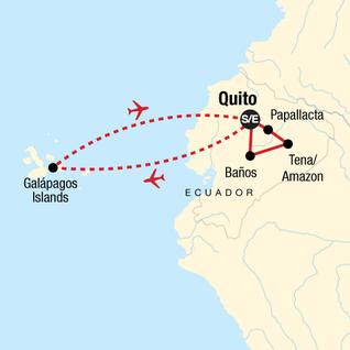 Map of Ecuador Mainland & the Galápagos Islands